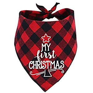 Dog First Christmas Bandana,Red Plaid Xmas Puppy Scarf