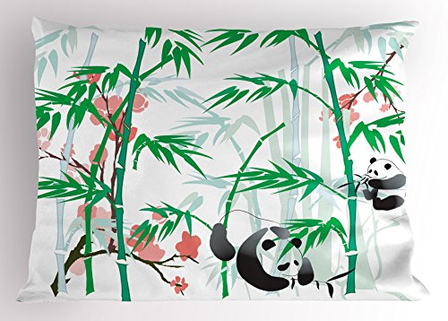 Lunarable Bamboo Pillow Sham, Giant Woody Grass Bamboos and Panda Bear in Chinese Tropics Print, Decorative Standard Queen Size Printed Pillowcase, 30