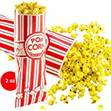 Popcorn Bags 200 Pack. Coated for Leak/Tear Resistance. Single Serving 2oz Paper Sleeves in Nostalgic Red/White Design. Great Movie Theme Party Supplies or Old Fashioned Carnivals & Fundraisers!