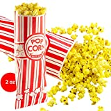 Popcorn Bags 25 Pack. Coated for Leak/Tear Resistance. Single Serving 2 oz Paper Sleeves in Nostalgic