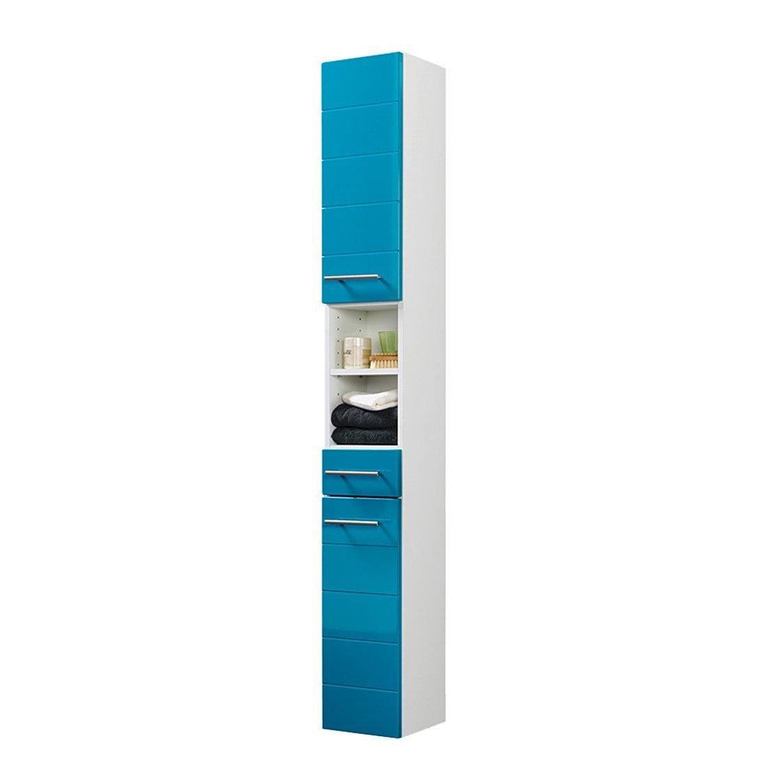 Held Möbel 140.2086 Rimini Seitenschrank 2-türig, 1 Schubkasten, 3 Einlegeböden, 25 x 181 x 20 cm, hochglanz türkis weiß