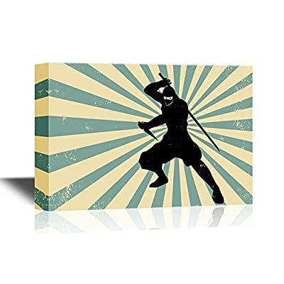 Canvas Wall Art - Ninja with a Sw - Gallery Wrap Modern Home Art | Ready to Hang - 12x18 inches