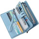 Women's Big Fat Rfid Leather Wristlet Wallet Organizer Large Phone Checkbook Holder with Zipper Pocket (Light Blue)