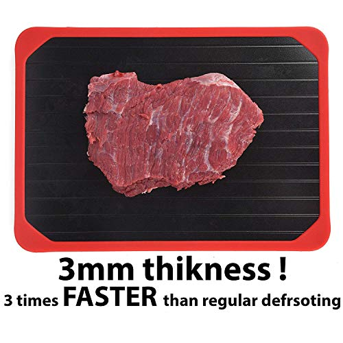 (Defrosting Tray, Defrosting Tray with Red Silicone Border, Thawing Plate, The Safest Way to Defrost Meat or Frozen Food Beef Chicken Quickly No battery No Microwave, Fast rapid Thawing Plate)