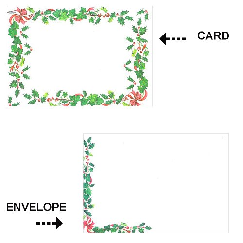 Berry Sleigh (Holiday Stationary Cardz w/ Envelopes - Holly Leaves & Berries - 16 Pack)