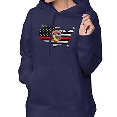 278bcacc Cal Fire California Strong Thin Red Line Flag Womens Hoodie Casual Hooded Sweatshirts  Sweatshirts with Pocket at Amazon Women's Clothing store: