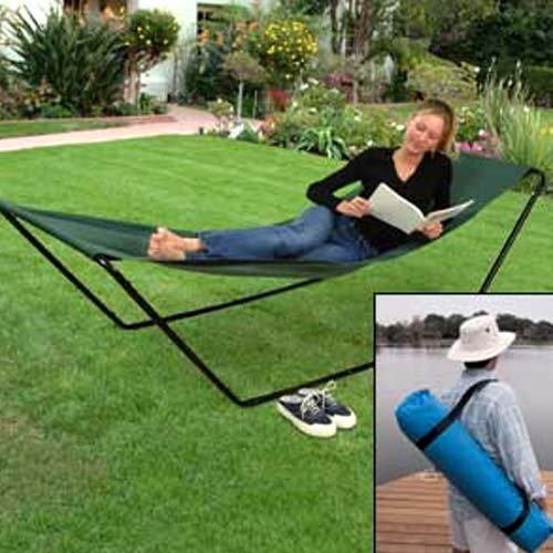amazoncom portable foldaway hammock with stand and carry bag sports outdoors