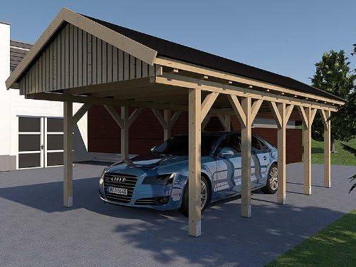 CarPort tejado Monaco IX 400 cm x 800 cm laminada Montar Abeto ...