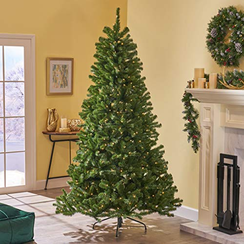 Christopher Knight Home 307321 7.5-Foot Noble Fir Pre-Lit Hinged Artificial Christmas Tree, Green + Clear Lights (Fir Artificial Tree Noble Christmas)