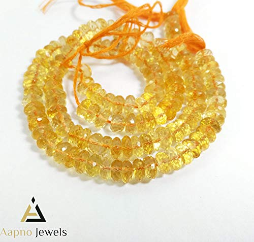 1 Strand Natural Citrine Loose Beads Strand,6-7mm 9 Inch Faceted Rondelle Citrine Beads, Citrine Beads Necklace, Jewelry Making Citrine Beads, Knotted Citrine Necklace