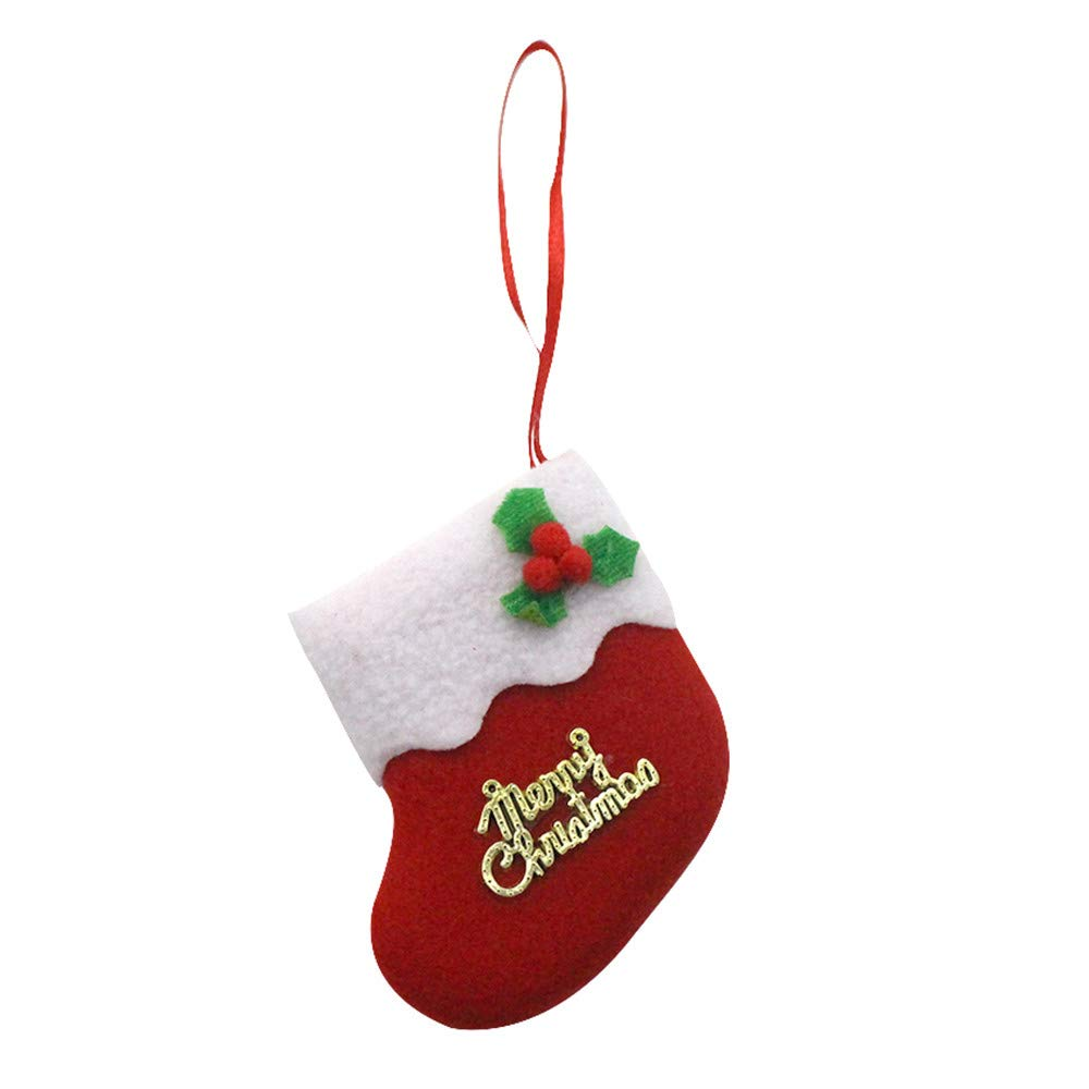 ❀ZTY66❀ Mini Christmas Stockings, Gift Cards Stocking Christmas Tree Decorating (Red)