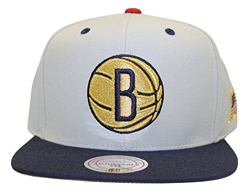Mitchell & Ness NBA USA 2 Tone Gold Logo Adjustable Snapback Hat Gray/Navy (Brooklyn Nets)
