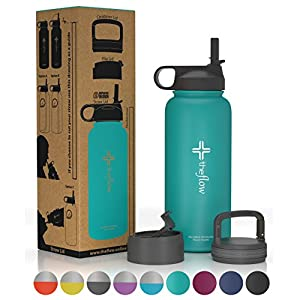 the flow Stainless Steel Water Bottle Double Walled/Vacuum Insulated - BPA/Toxin Free – Wide Mouth with Straw Lid, Carabiner Lid and Flip Lid, 32 oz.(1 Liter) (Turquoise, 32oz)