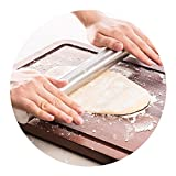 HaloVa Stainless Steel Rolling Pin Solid Metal French Rolling Pin for Bakers, Pasta, Fondant, Pizza Cookie & Pastry Dough, Strong and Durable, 15.7''