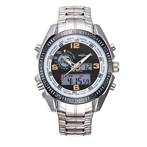 - FakMe Men's Waterproof Double Core Digital Sport Watch LED Multi-Function Electronic Wrist Sport Watch (Yellow)