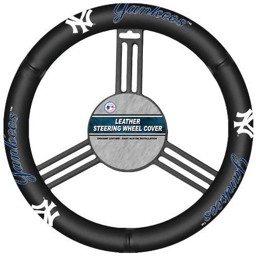 Fremont Die MLB New York Yankees Genuine Leather Steering Wheel Cover