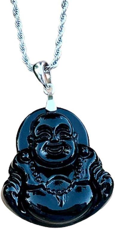 LAUGHING BUDDHA black green Jade macrame talisman