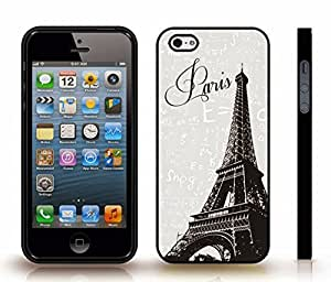 iStar Cases? iPhone 4 Case with Eiffel Tower Photostamp, Paris Text on Grey Background with Physics Formulas , Snap-on Cover, Hard Carrying Case (Black)