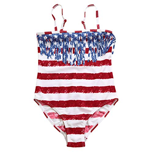 Clothes Swimwear Baby Girl Striped Print one Piece Swimsuit Summer Beach Swimming Suits for Girls Bathing Costume(12M,Red) ()
