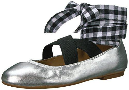 The Fix Women's Singh Elastic Strap Lace-up Ankle Ballet Flat, Silver/Metallic, 8 B US (Ballet Leather Metallic Flats)
