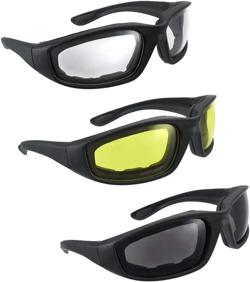 HiSurprise 3 Pair Motorcycle Riding Glasses Smoke Clear Yellow