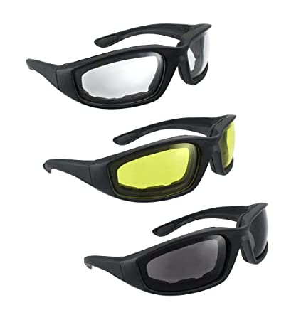 6fe2b22f4ce0 Amazon.com  3 Pair Motorcycle Riding Glasses Smoke Clear Yellow ...
