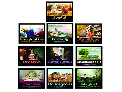 Reading Builds Character Laminated Elementary Education Poster Series of 10 - Promote Reading