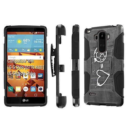Click to buy LG G Stylo [LS 770 H631], [NakedShield] [Black/Black] Holster Armor Tough Case - [Soccer Heart] for LG G Stylo LS770 - From only $12.79