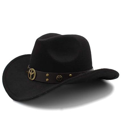Ruiyue Fashion Winter Cowboy Suede Look Wild West Fancy Dress Ladies Cowgirl  Hat Roll-up Hat for Women Men (Color   Black 9fb02c78abbb