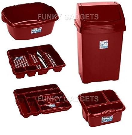 gaixample.org 50L LITER SWING WASTE BIN 5PC PCS CHILLI RED SET ...