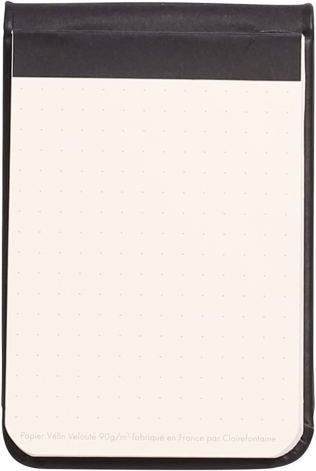 7.5 x 12 cm Rhodia 118299C Webnote Pad Black 96 Sheet Lined dot Grid 90 G with Bungee Cord Micro Perforated A7 Ivory