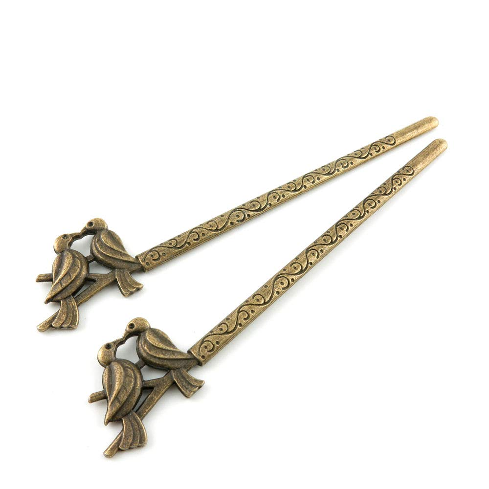 Price per 80 Pieces Antique Bronze Tone Jewelry Charms Findings Arts Crafts Beading Making Charmes V4UW7J Bird Hairpin Head Pins