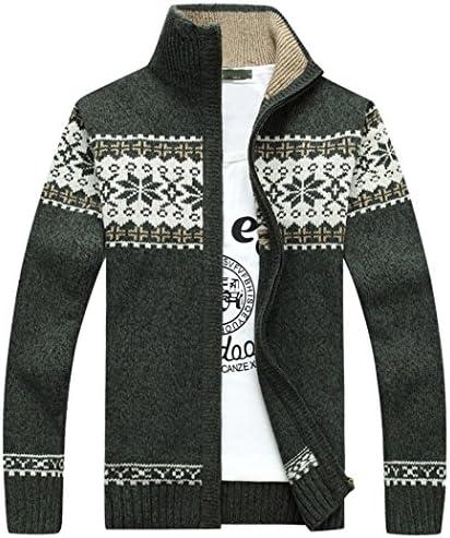 スウェットカーディガン アウター メンズ 長袖 厚手 ジップカーディガン ノルディック 柄 ニット 刺繍 バイカラー ファッション 秋冬