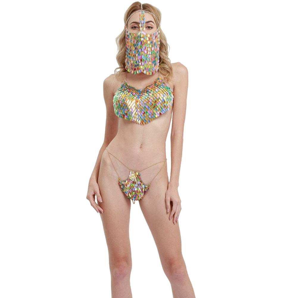 Connie Cloris Sexy Lady's Sexy Belly Pocket Sequins Bikini Metal Body Chain Suit (Multicolor) by Connie Cloris (Image #2)