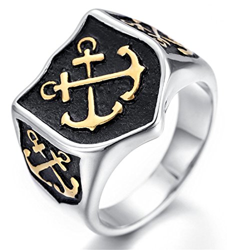 (WWorMM Vintage Domineering Stainless Steel Rock Anchor Cross Black Gold Plated Army Shield For Men's)