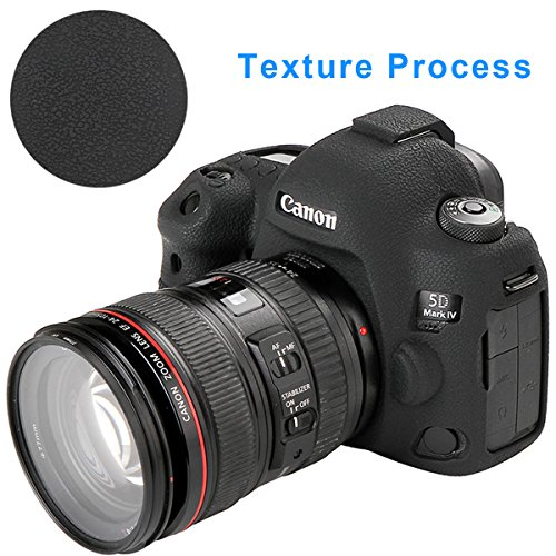 STSEETOP Canon 5D Mark IV Camera Case, Professional Silicone Rubber Camera Case Cover Detachable Protective for Canon 5D Mark IV (Black)