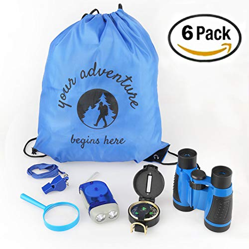 Your Adventure Begins Here BackPack, Educational kids camping gear,kids outdoor Toys, Binoculars,Flashlight,Compass, Magnifying Glass,whistle & Backpack, Explorer Kit, Great kidz Gift Set for Birthday by Mancera's Quality Mall