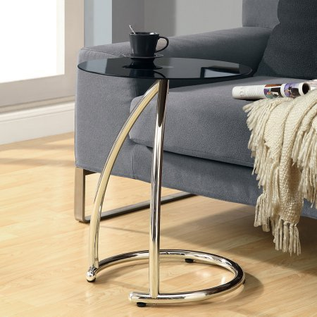 Metal Accent Table With Black Tempered Glass,Chrome Finish, Home Furniture, Accent  Table