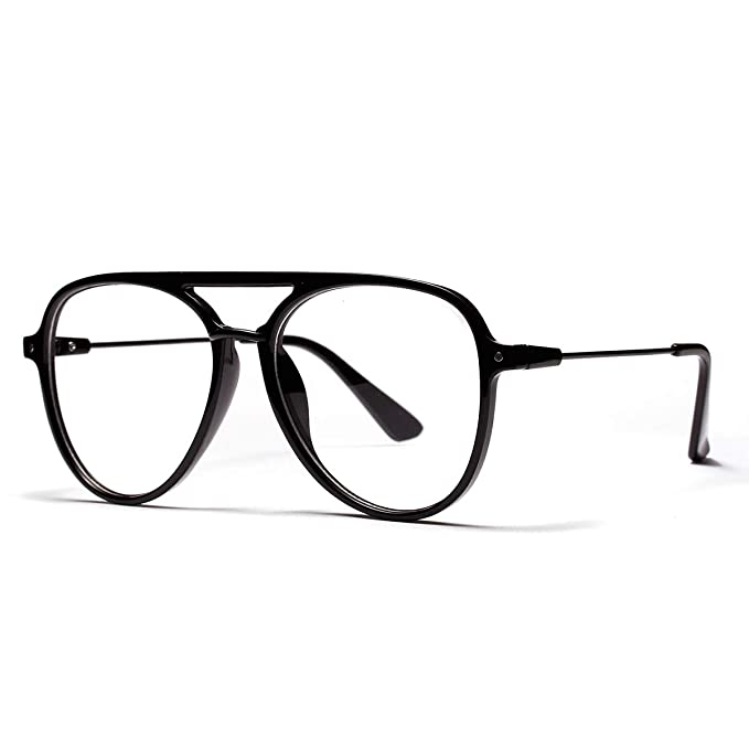 6faa6ee3fbbe OVZA Fashion Oversized Glasses Frames for Mens and Women Black Big Frame  Classic Pilot Style (
