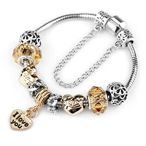 Fashion Luxury Crystal Heart Gold Color Charm Bracelet for Girl Murano Glass Beads Brand Bracelet for Women DIY Jewelry Gift
