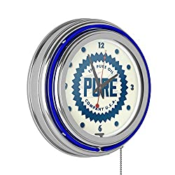 Trademark Gameroom Pure Oil Chrome Double Rung Neon Clock - Wordmark