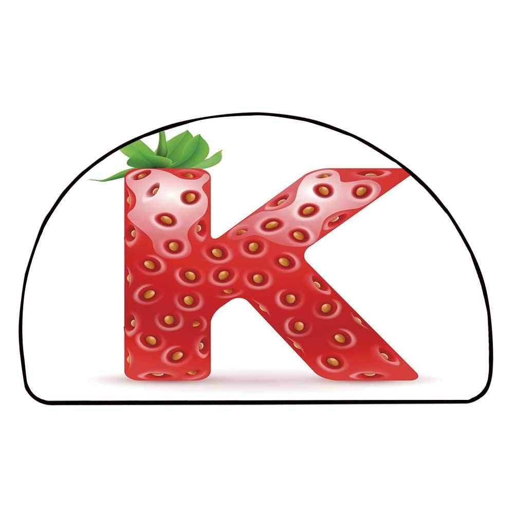 C COABALLA Letter K Comfortable Semicircle Mat,Fresh Food Strawberry Style Capital K Seasonal Refreshment Design Decorative for Living Room,11.8'' H x 23.6'' L