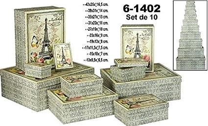 DonRegaloWeb - Set de 10 cajas rectangulares de cartón con varias medidas decoradas con la torre