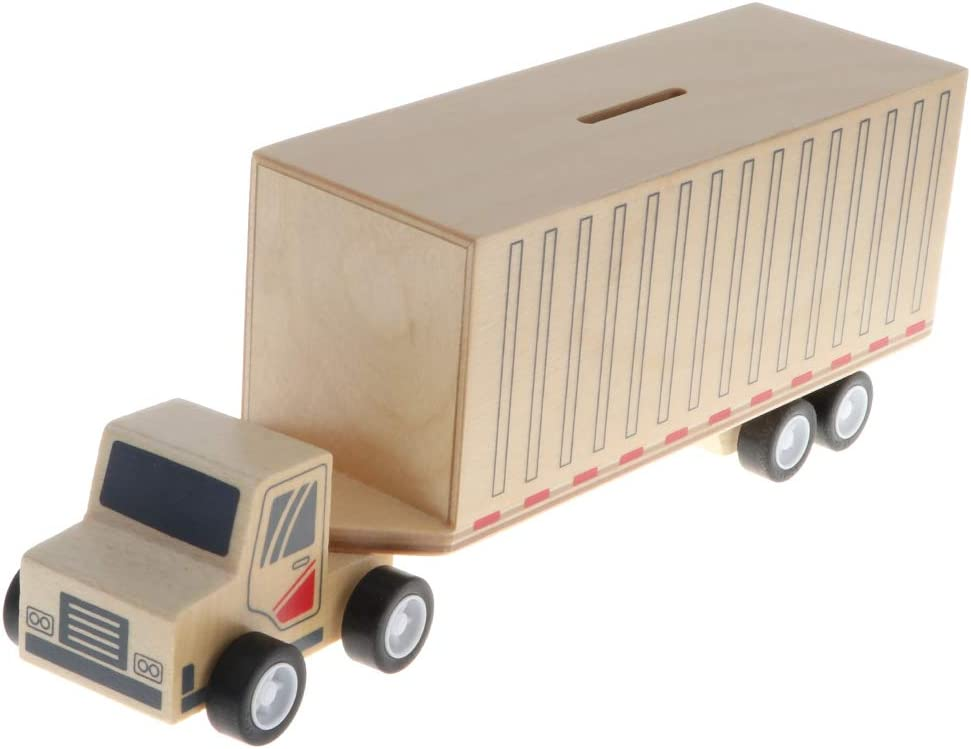 Forme de Bus B Blesiya Tirelire Bois Voiture Jouets pour Enfants /Économiser Argent Coin Box Home D/écoration Artisanat