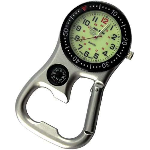 Backpacker Belt Fob Watch Silver Tone with Compass and Bottle Opener