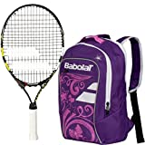 Babolat Nadal Junior 19'' Tennis Racquet (Yellow/Black/White) bundled with Girl's Club Tennis Backpack (Purple)