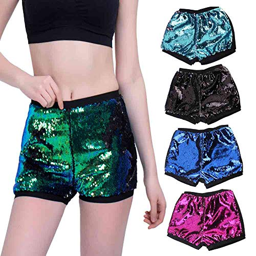 Kirbyates Women's Fashion Shorts Two Toned Reversible Mermaid Fishscale Sequin Trousers Summer Beach Short Pants Purple -