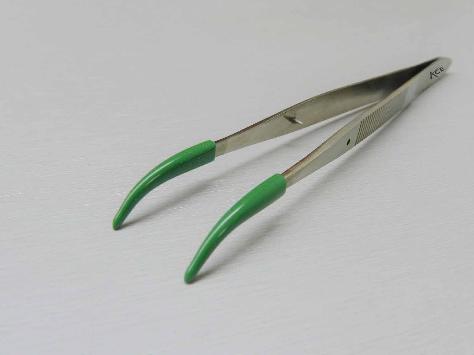 ACE Tweezers Curved Tip Rubber Tips PVC Coated Curved Tweezer Jewelry Hobby Craft