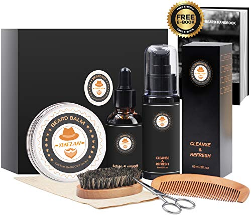 Upgraded 7 in 1 Beard Growth Grooming Kit w/Beard Shampoo/Wash Softener+Unscented Beard Conditioner Oil+Beard Butter Balm+Brush+Mustache Scissor+Storage Bag by XIKEZAN