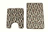 maiija 2 Piece Leopard Memory Foam Non-slip Contour Memory Foam Bathmat Set